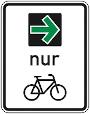 Zusatzzeichen Grünpfeil für den Radverkehr